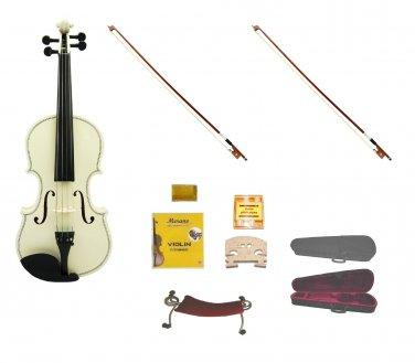 Merano 1/4 Size White Violin,Case,2 Bows+Rosin+2 Sets of Strings+2 Bridges+Tuner+Shoulder Rest