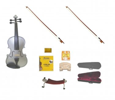 Merano 1/4 Size Silver Violin,Case,2 Bows+Rosin+2 Sets of Strings+2 Bridges+Tuner+Shoulder Rest