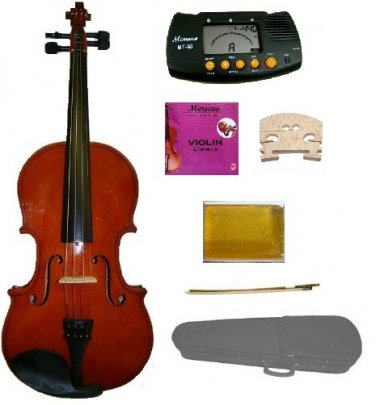 1/16 Size Natural Acoustic Violin,Case,Bow+Rosin+Extra E String+2 Bridges+Metro Tuner