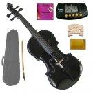 3/4 Size Black Acoustic Violin,Case,Bow+Rosin+Extra E String+2 Bridges+Metro Tuner