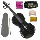 1/10 Size Black Acoustic Violin,Case,Bow+Rosin+Extra E String+2 Bridges+Metro Tuner