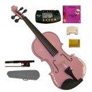 1/2 Size Pink Acoustic Violin,Case,Bow+Rosin+Extra E String+2 Bridges+Metro Tuner