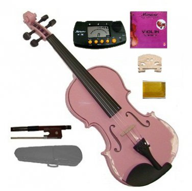 1/4 Size Pink Acoustic Violin,Case,Bow+Rosin+Extra E String+2 Bridges+Metro Tuner