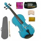 1/2 Size Blue Acoustic Violin,Case,Bow+Rosin+Extra E String+2 Bridges+Metro Tuner