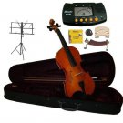 3/4 Size Natural Violin,Case,Bow+Rosin,2Bridges,Strings,Shoulder Rest,Tuner,Stand,Mute