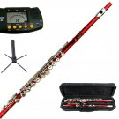 MERANO RED LACQUER PLATED FLUTE WITH CASE + Free Stand+Metro Tuner