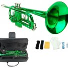 Merano B Flat Green Trumpet with Case+Mouth Piece+Valve Oil