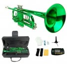 Merano B Flat GREEN / Silver Trumpet with Case+Mouth Piece+Valve Oil+Metro Tuner+Stand
