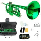 Merano B Flat Green Trumpet,Case+Mouth Piece+Valve Oil+Metro Tuner+Black Music Stand+Trumpet Stand