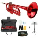 Merano B Flat Red Trumpet,Case+Mouth Piece+Valve Oil+Metro Tuner+Black Music Stand+Trumpet Stand