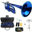 Merano B Flat Blue Trumpet,Case+Mouth Piece+Valve Oil+Metro Tuner+Black Music Stand+Trumpet Stand