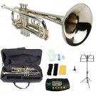Merano B Flat Silver Trumpet,Case+Mouth Piece+Valve Oil+Metro Tuner+Black Music Stand+Trumpet Stand