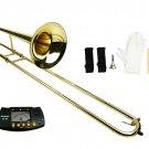 MERANO B Flat Gold Slide Trombone with Case+Free Metro Tuner