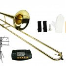 Merano B Flat Gold Slide Trombone with Case+Free Metro Tuner+Music Stand