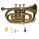 Merano B Flat Gold Brass Pocket Trumpet,Case+Mouth Piece;Valve oil;Gloves;Cloth+Stand