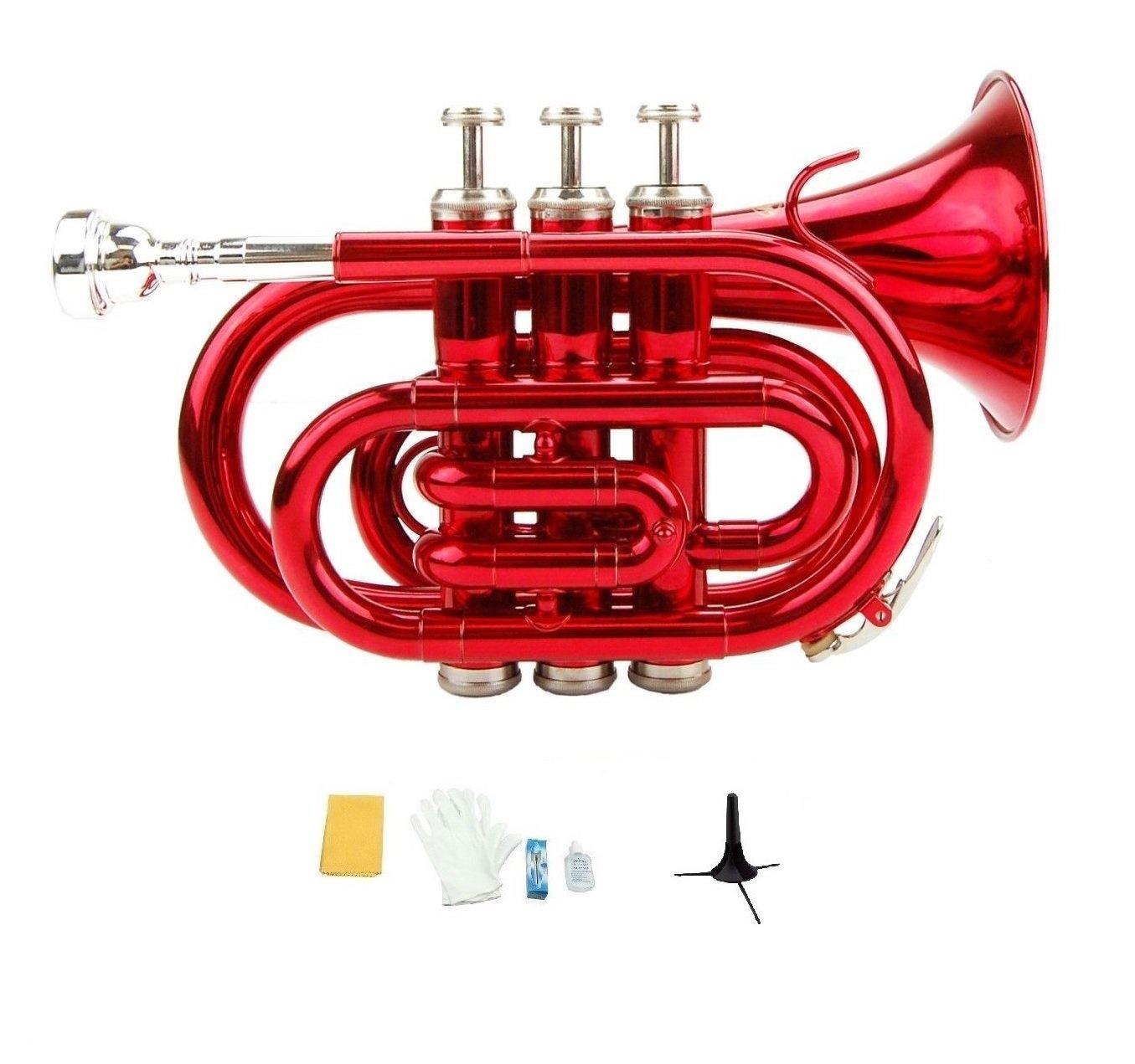 Merano B Flat Red Brass Pocket Trumpet,Case+Mouth Piece;Valve oil;Gloves;Cloth+Stand