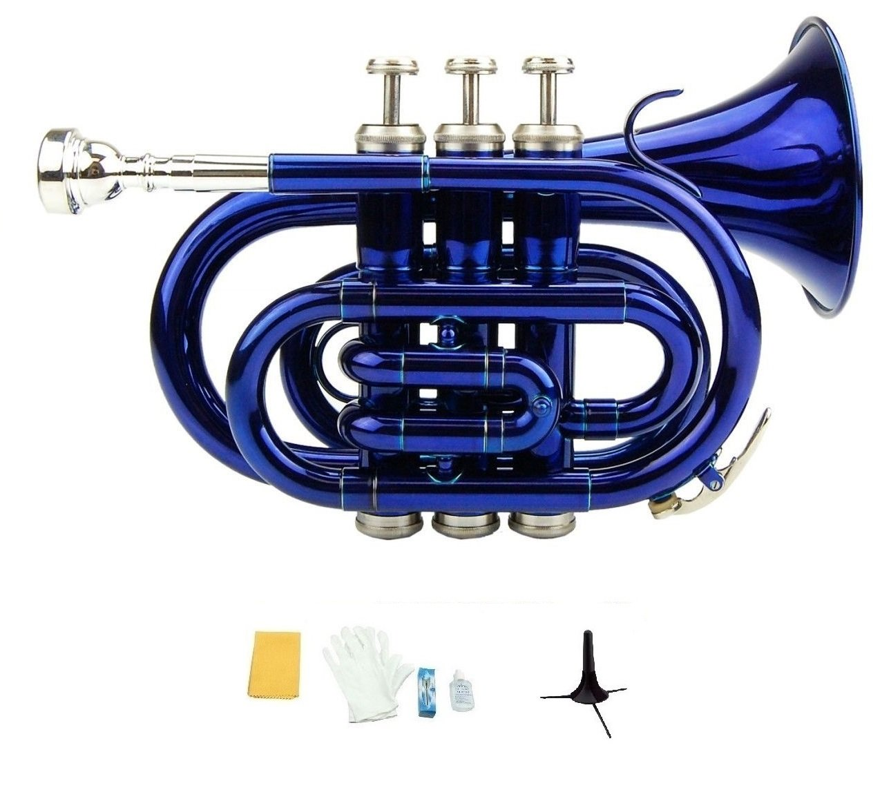 Merano B Flat Blue Brass Pocket Trumpet,Case+Mouth Piece;Valve oil;Gloves;Cloth+Stand