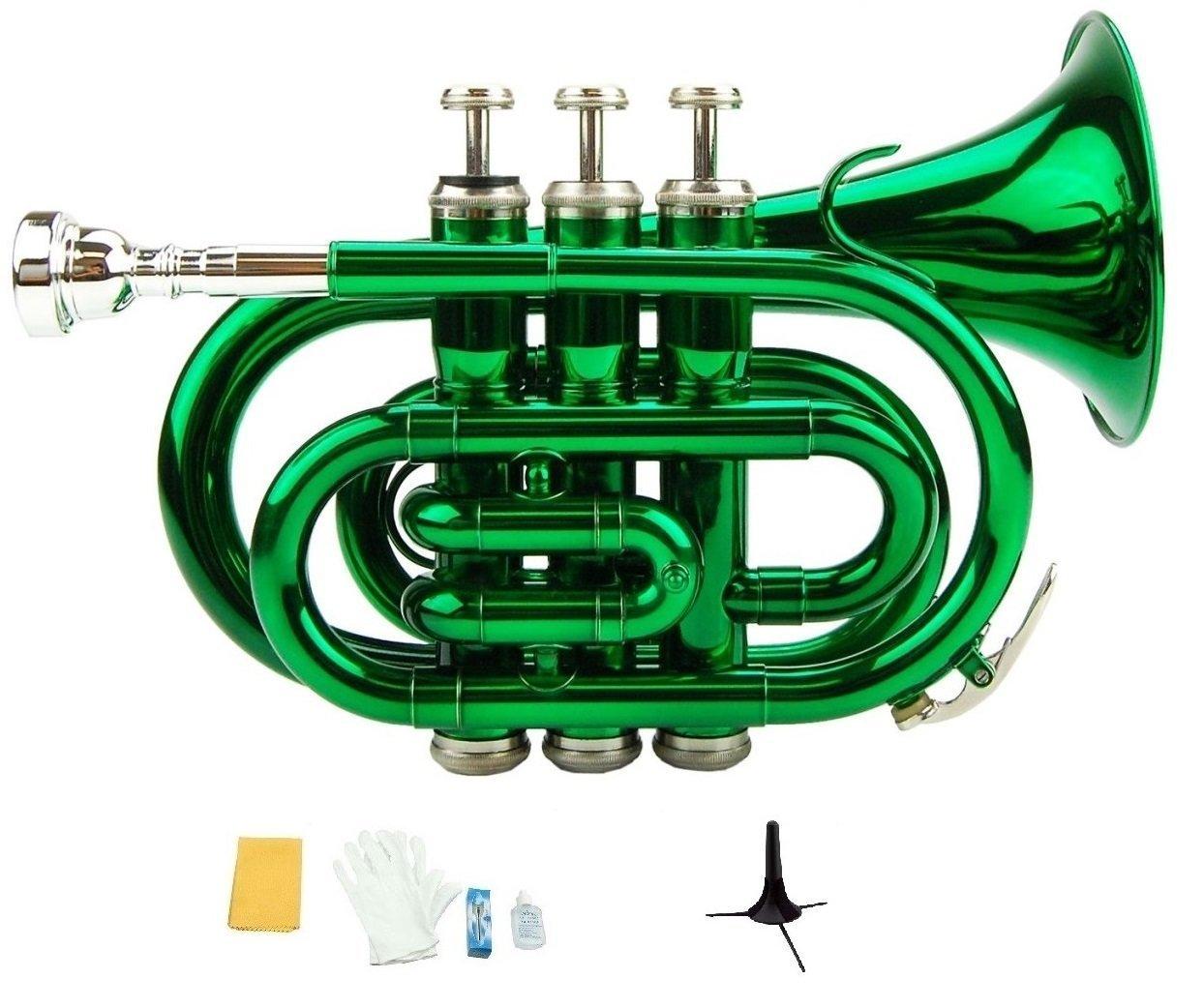 Merano B Flat Green Brass Pocket Trumpet,Case+Mouth Piece;Valve oil;Gloves;Cloth+Stand