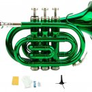 Merano B Flat Green Brass Pocket Trumpet,Case+Mouth Piece;Valve oil;Gloves;Cloth+Stand