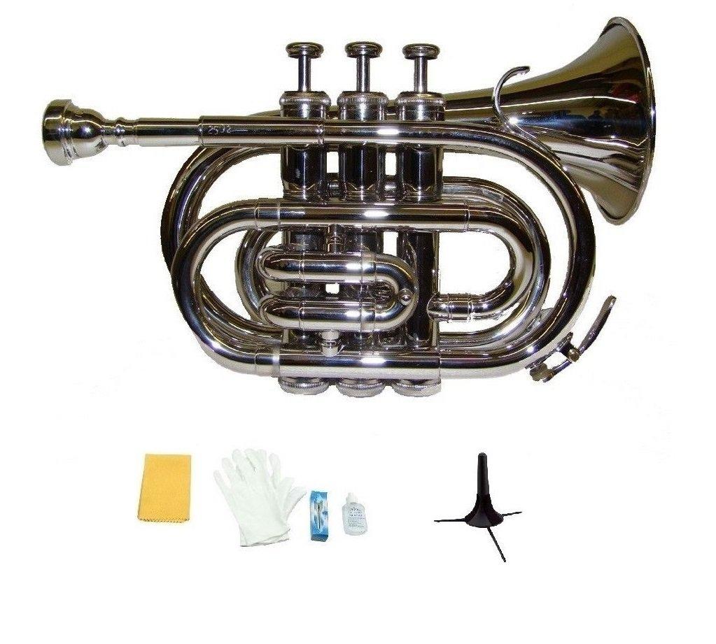 Merano B Flat Silver Nickel Pocket Trumpet,Case+Mouth Piece;Valve oil;Gloves;Cloth+Stand