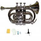 Merano B Flat Silver Nickel Pocket Trumpet,Case+Mouth Piece;Valve oil;Gloves;Cloth+Stand