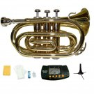 Merano B Flat Gold Brass Pocket Trumpet,Case+Mouth Piece;Valve oil;Gloves;Cloth+Stand+Metro Tuner