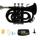 Merano B Flat Black Brass Pocket Trumpet,Case+Mouth Piece;Valve oil;Gloves;Cloth+Stand+Metro Tuner