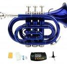Merano B Flat Blue Brass Pocket Trumpet,Case+Mouth Piece;Valve oil;Gloves;Cloth+Stand+Metro Tuner