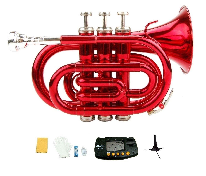 Merano B Flat Red Brass Pocket Trumpet,Case+Mouth Piece;Valve oil;Gloves;Cloth+Stand+Metro Tuner