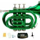 Merano B Flat Green Brass Pocket Trumpet,Case+Mouth Piece;Valve oil;Gloves;Cloth+Stand+Metro Tuner