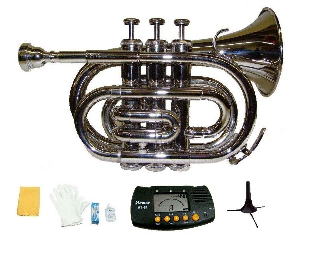 Merano B Flat Silver Brass Pocket Trumpet,Case+Mouth Piece;Valve oil;Gloves;Cloth+Stand+Metro Tuner