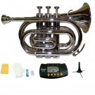 Merano B Flat Silver Brass Pocket Trumpet,Case+Mouth Piece;Valve oil;Gloves;Cloth+Stand+Metro Tuner