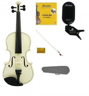 Merano 4/4 Size White Violin,Case,White Stick Bow+Rosin+2 Sets Strings+Chromatic Clip On Tuner