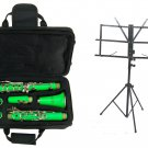 MERANO B Flat GREEN Clarinet with Zippered Carrying Case+Music Stand