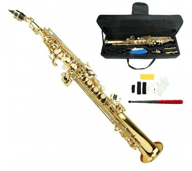 MERANO B Flat Gold Soprano Saxophone with Case,Extra 10 Reeds