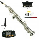 MERANO B Flat Silver Soprano Saxophone with Case,Soprano Saxophone Stand,Metro Tuner