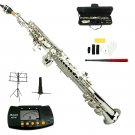 MERANO B Flat Silver Soprano Saxophone with Case,Soprano Saxophone Stand,Metro Tuner,Music Stand