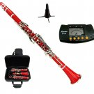 MERANO RED CLARINET WITH CASE,11 REEDS, METRO TUNER, CLARINET STAND