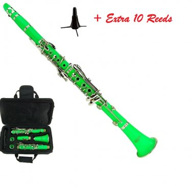 MERANO GREEN ABS CLARINET WITH CASE, STAND, EXTRA 10 REEDS