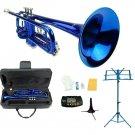 Merano B Flat Blue Trumpet,Case+Mouth Piece+Valve Oil+Metro Tuner+Blue Music Stand+Trumpet Stand