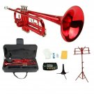 Merano B Flat Red Trumpet,Case+Mouth Piece+Valve Oil+Metro Tuner+Red Music Stand+Trumpet Stand