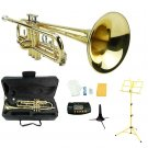 Merano B Flat Gold Trumpet,Case+Mouth Piece+Valve Oil+Metro Tuner+Yellow Music Stand+Trumpet Stand
