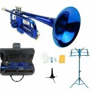 Merano B Flat Blue Trumpet,Case+Mouth Piece+Valve Oil+Blue Music Stand+Trumpet Stand