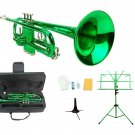Merano B Flat Green Trumpet,Case+Mouth Piece+Valve Oil+Green Music Stand+Trumpet Stand