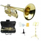 Merano B Flat Gold Trumpet,Case+Mouth Piece+Valve Oil+Yellow Music Stand+Trumpet Stand