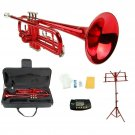 Merano B Flat Red Trumpet,Case+Mouth Piece+Valve Oil+Red Music Stand+Metro Tuner