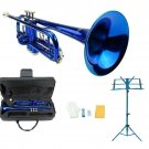 Merano B Flat Blue Trumpet,Case+Mouth Piece+Valve Oil+Blue Music Stand