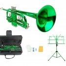 Merano B Flat Green Trumpet,Case+Mouth Piece+Valve Oil+Green Music Stand