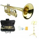 Merano B Flat Gold Trumpet,Case+Mouth Piece+Valve Oil+Yellow Music Stand