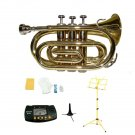 Merano BB Gold Brass Pocket Trumpet,Case+Stand+Metro Tuner+Yellow Music Stand